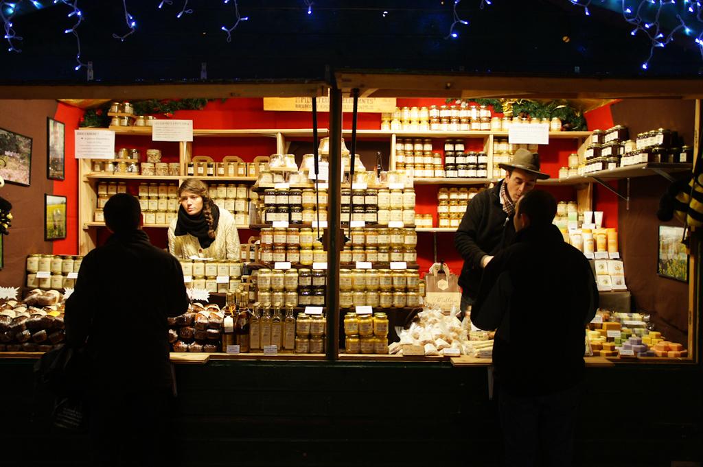 Le chalet au marché de Noël de Lyon
